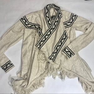 Sweaters - River island cream brown black fringe cardigan M